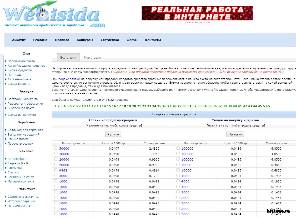 Webisida биржа кредитов